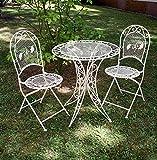 aubaho Garnitur Gartentisch 2 Stühle Eisen Gartenmöbel antik Stil Nostalgie Creme Weiss