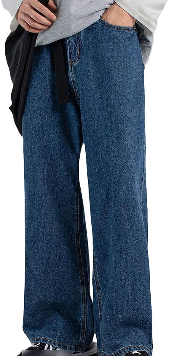 Men's Fashion Wide Leg Pants Loose Motorcycle Denim Pants Classic Pocket Jeans Blue Casual Pants