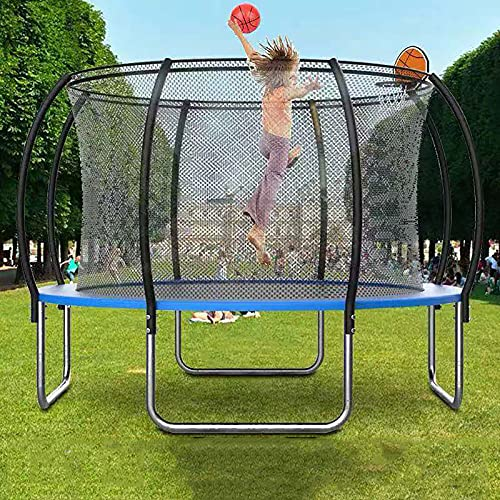 YOGAA Garden Trampoline, 10ft Round Trampoline with Safety Net Enclosure, Ladder, Padded Arch Poles,Outdoor Recreational Rebounder Trampolines for Kids and Adults