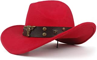 MAODOXIANG 2019 Women's Cowboy Hat Men's Western Cowboy Hat for Dad Gentleman Lady Leather Sombrero (Color : Red, Size : 56-59cm)