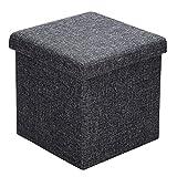 Deuba Taburete con espacio de almacenamiento plegable Gris oscuro cofre cubo con tapa 40L 38x38x38cm Aspecto de Lino MDF acolchado