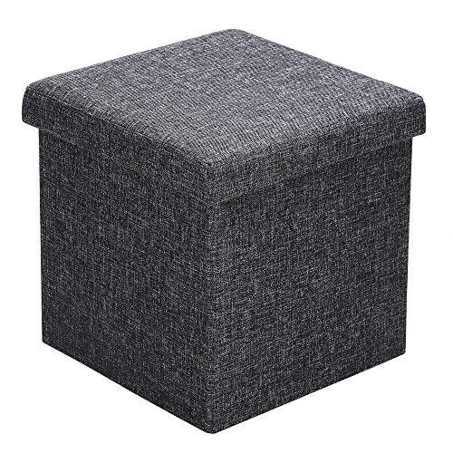 Deuba Sitzhocker mit Stauraum & Deckel Faltbar 40 L Dunkelgrau Stoff 38x38x38cm Gepolstert Sitztruhe Hocker Fußhocker