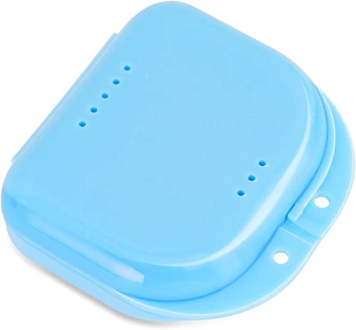 Orthodontic Retainer Case with Vent Holes, Denture Box Mouthguard Container Mouthpiece Aligner Case with Hinged Lid S...