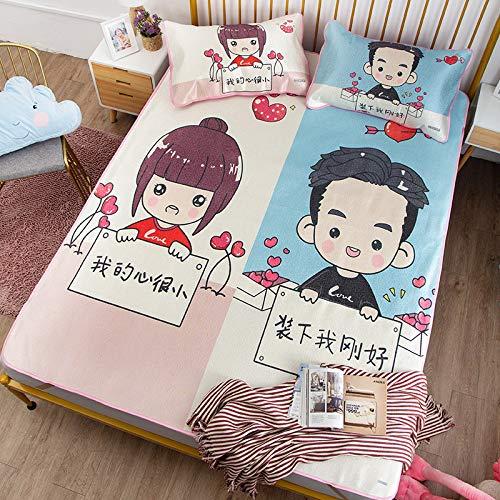 Hllhpc Twee yuan cartoon kleine begraven ijs zijden stoel 1,8 meter bed opvouwbare mat driedelige student slaapzaal zomermat