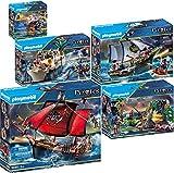 PLAYMOBIL Pirates Set de 5 Juegos 70411 70412 70413 70414 70415 Barco Pirata Calavera + Carabela + Bastión + Escondite Pirata + Pirata con Cañón