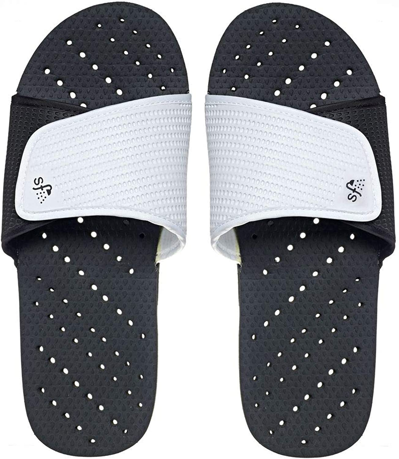 Showaflops Boys' Antimicrobial Shower & Water Sandals for Pool, Beach, Camp and Gym - Adjustable colorblock Slide