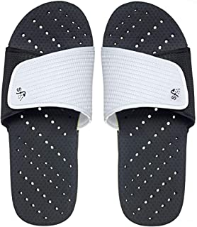 Mens' Antimicrobial Shower & Water Sandals for Pool, Beach, Dorm and Gym - Adjustable Colorblock Slide