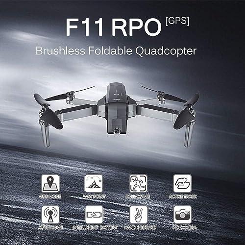 Leslaur SJ RC F11 Pro 5G WiFi FPV GPS Drone sans Brosse RC avec caméra 2K Grand Angle Selfie Suivez-Moi RC Quadricoptère avec 3 Batteries Sac à Main