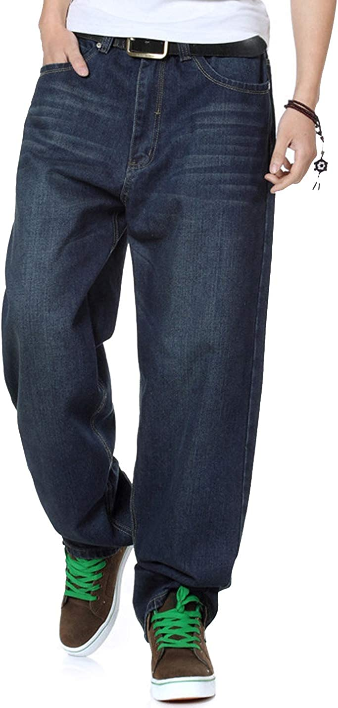 HaoMay Men's Loose Baggy Hip Hop 5% Luxury goods OFF Jeans Straight Harem Fit Stretc
