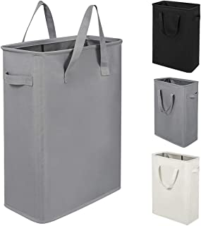 ZERO JET LAG Slim Laundry Hamper with Handles Thin Laundry Bin Collapsible Dirty Clothes Basket Narrow Laundry Bag Foldable Dirty Hamper(21 inches,Grey)
