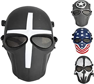 JFFCESTORE Airsoft Full Face Protective Mask with Google and Seamless Headscarf Tactical Masks Gear for Paintball Outdoor Cs War Game BB Gun Ghost Halloween Party Mask