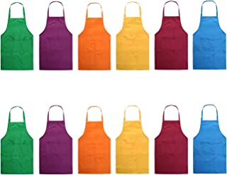 Hi loyaya Total 12 Pcs Plain Color Bib Apron with 2 Pockets Painting Event Party BBQ Cooking Kitchen Aprons for Women Men Adults Chef