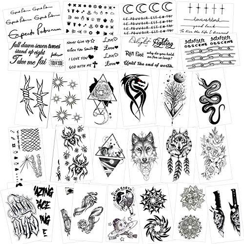 Konsait Tatuajes temporales para adultos hombre Mujer Niños (30 hojas), Fake Tatuajes Adhesivos Tatuajes de cuerpo temporales brazo cuello impermeable, Dragón Araña Serpiente Mandala Flor Lobo Etc