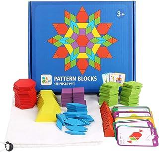 Elloapic 155pcs Pattern Blocks Set Activity Cards Wooden Geometric Shape Puzzle Classic Early Educational Toys Tangram for...