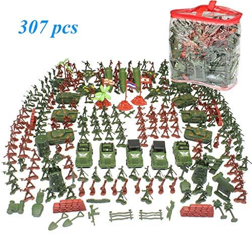 Militaire Toys Soldier Set 307 stuks, met inbegrip van tanks, vliegtuigen, raketten, militaire kampen, Battlefield Action Figures, Custom Battle Scene Military Set