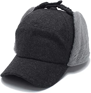 SUMBAGO Women's Ushanka Earflaps Flat Cap Winter Woolen Harajuku Bomber Trapper Russian Hats