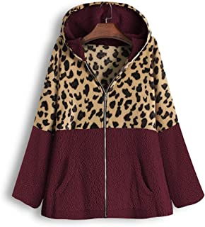 Womens Long Coats Jackets Hooded Leopard Print Patchwork Fleece Lined Loose Warm Padded Parka Plus Size HebeTop