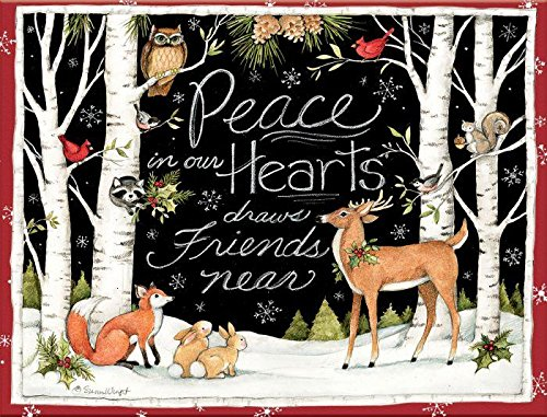 """LANG 1004777 -""""Peace in Our Hearts"""", Boxed Christmas Cards, Artwork by Susan Winget"""" - 18 Cards, 19 envelopes - 5.375"""" x 6.875"""""""