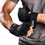 Weight Lifting Gloves with Integrated Wrist Wrap, Light Microfiber & Anti-Slip Silica Gel Grip Glove for Gym Workout, Crossfit, Weightlifting, Powerlifting, and Running—Pair