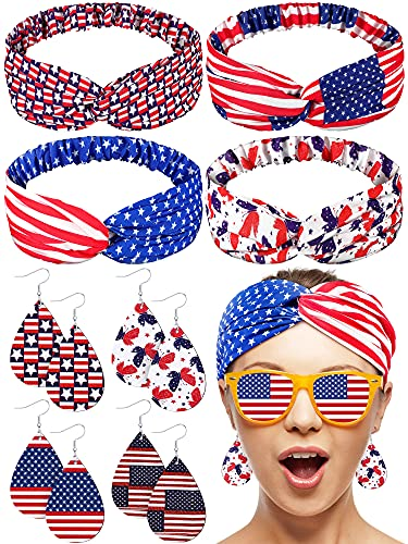 Otuuz 4 Pieces Independence Day Accessories Set, USA American Flag Headband Red White and Blue Patriotic Headband Patriotic Hair Bands Elastic Hair Bands with 4 Pairs American Flag Earrings