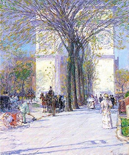 The Museum Outlet – Washington Arc de Triomphe au printemps par Hassam, Tendue sur toile Galerie enveloppé. 50,8 x 71,1 cm