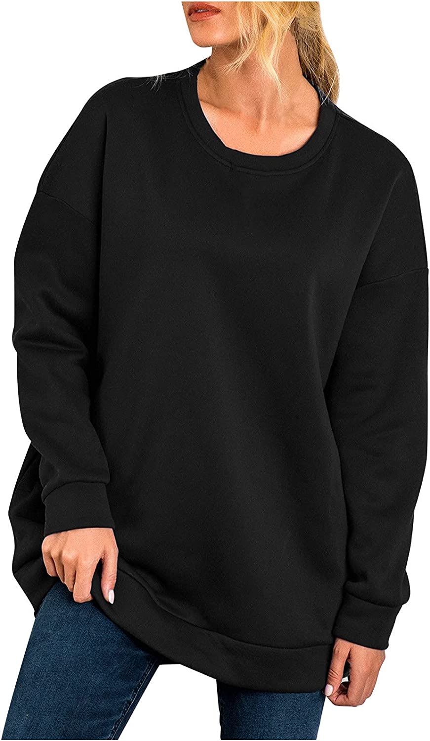 women's casual solid basic sweater soft comfortable crewneck long sleeve pullover tee ladies trendy autumn blouse tops