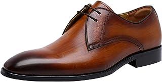 Chaussures Homme Cuir Derbies Classiques Bout Pointu Chaussure de Ville à Lacets Oxfords Business Mariage Marron Noir