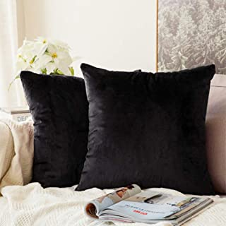 ANTOPM 2 PCS Black Pillow Covers, 18x18 inch Luxury Soft Plush Square Pillow Covers Cases Decorative Throw Pillow Covers Cushion Covers Cases Pillowcases for Sofa,Bed,Couch