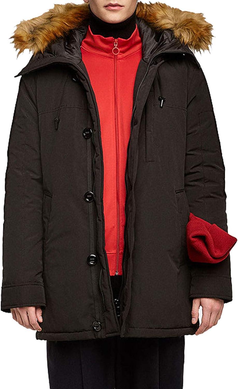 Flygo Men's Casual Winter Warm Parkas Faux Fur Trimmed Hooded Coat Jacket