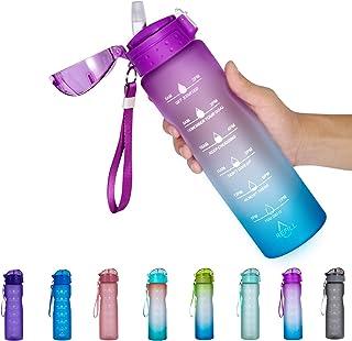 NOOFORMER 24oz / 32oz Motivational Water Bottle with Time Marker & Straw- Water Tracker Bottle Leakproof BPA Free for Fitn...