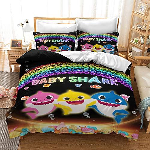Enhome Kids Duvet Cover Bedding Set for Single Double King Size Bed, 3D Cartoon Shark Printing for Boys Girls Microfiber Duvet Set Quilt Case with Pillowcases (200x200cm,BABY SHARK A)