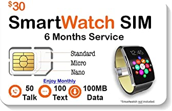 SpeedTalk Mobile Smart Watch SIM Card - Compatible with 2G 3G 4G LTE GSM Smartwatches and Wearables - 6 Months Service