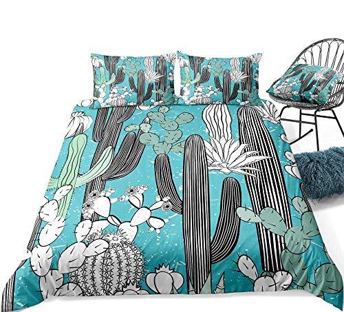 Juegos de ropa de cama Impresión 3D 3 piezas 3 piezas Juego de cama de cactus Juego de funda nórdica de plantas Funda de edredón tropical Textiles para el hogar azul 3 piezas Floral Blanco Negro Cactu