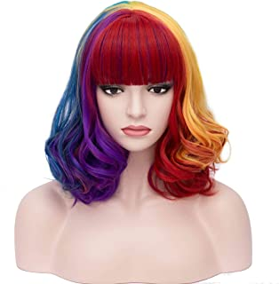 BERON 14'' Short Curly Women Girl's Charming Synthetic Wig with Air Bangs Wig Cap Included (Colorful)