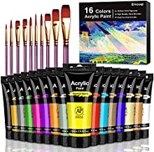 Acrylic Paint Set, Emooqi 26 Set of Premium Acrylic Paint Box Including 16 x 75 ml Acrylic Pigment +10 Brushes - Vibrant Colors Acrylic Paint for Beginners, Professionals and Artists
