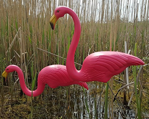Pair Of Pink Lawn Pond Flamingo Plastic Garden Party Ornaments Decor 77cm