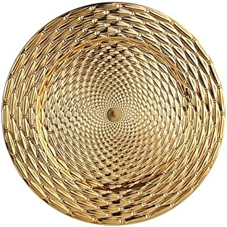 YUEZ_AE Round Charger Plates Gold Rattan Dinner Chargers - 13 inch Wedding and All Occasions Charger Plates (Gold, 6)