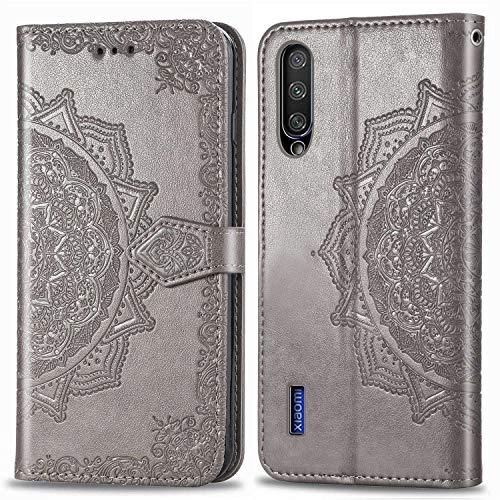 Bear Village Hülle für Xiaomi MI 9 Lite/MI A3 Lite/MI CC9, PU Lederhülle Handyhülle für Xiaomi MI 9 Lite/MI A3 Lite/MI CC9, Brieftasche Kratzfestes Handytasche mit Kartenfach, Grau