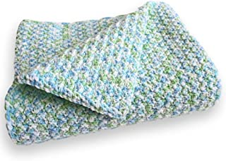 Blue Waffle-Textured Crochet Baby Afghan