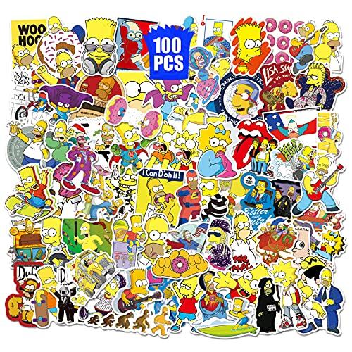 Simpson Stickers 100PCS Cartoon Decors for Snowboard Backpack Laptop Cups Pencil Case Phone Guitar Party Favors for Teens