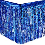 PUZINE 2 Pack Metallic Foil Fringe Table Skirt Tinsel Party Table Skirt Banner for Parade Floats Mardi Gras Party Decoration(L108 inH 29in)