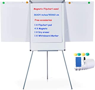 MAKELLO Flip Chart Easel Magnetic Tripod Whiteboard Dry Erase Board with Stand, Extended Display Arms, Adjustable Height, ...