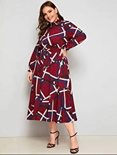 plus geo print ruffle cuff belted dress