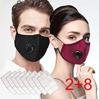 KEoans Outdoor Face Bandanas, Reusable Facemasks, with Breathing valve for Adults (2pcs + 8 Filter)