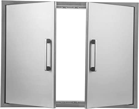 Amazon Com Outdoor Kitchen Doors Stainless Steel 31 W By 24 H Double Access Door Flush Mount For Outdoor Kitchen And Bbq Island Home Improvement