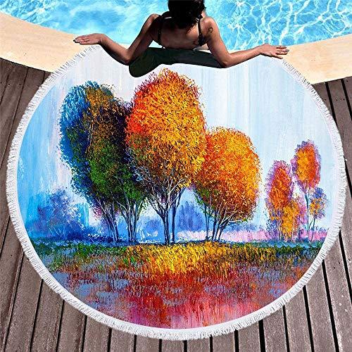 TYXL Toallas de Playa Impresión Digital 3D Suave Redonda Romántica De Madera Toalla De Playa con Flecos Estera De Playa Estera De Yoga Mantón 150 * 150 Cm