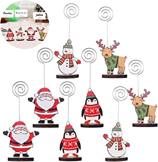 Coxeer Table Card Holders, 8PCS Table Card Holder Cute Place Card Holder Picture Clip Stand for Christmas