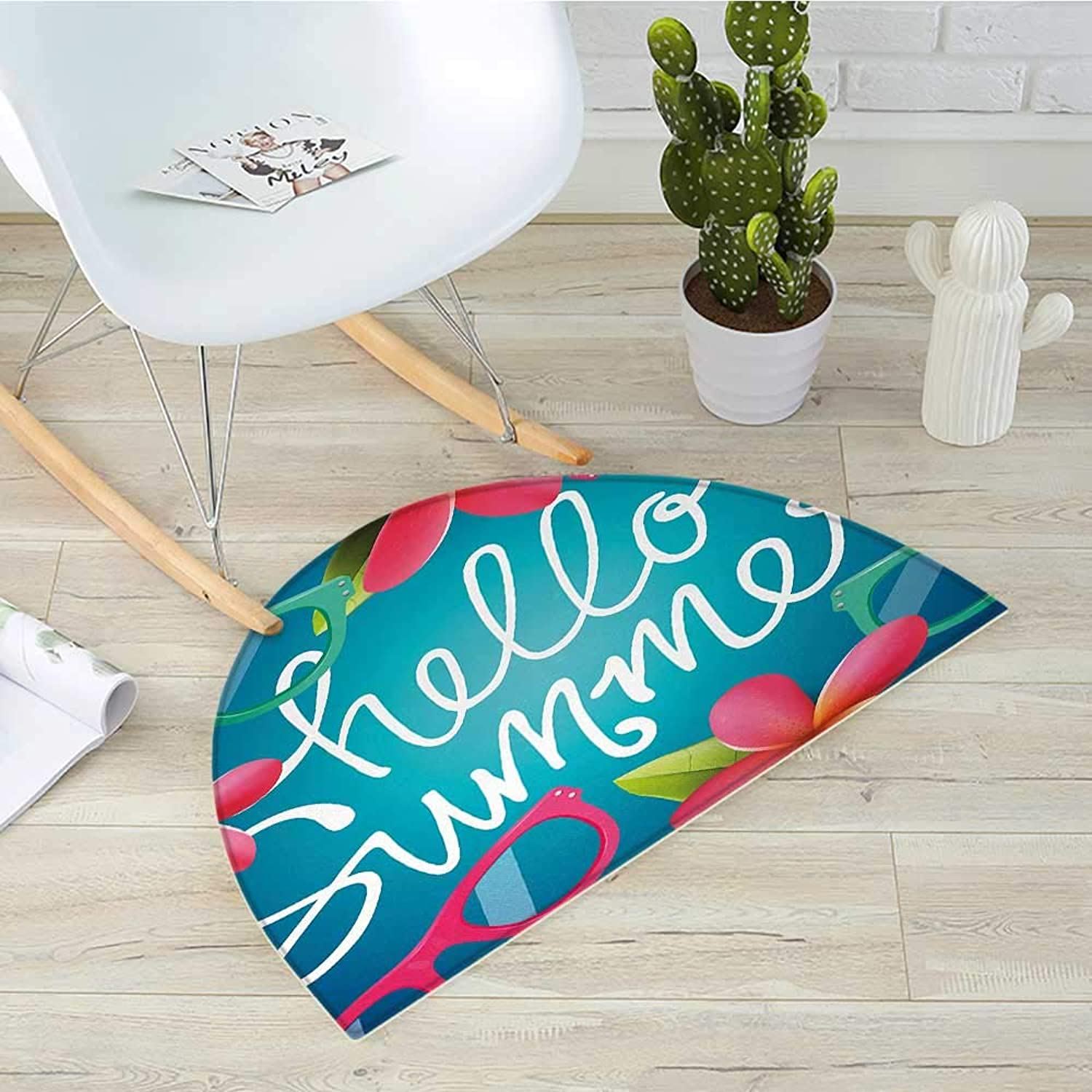 Hello Summer Semicircle Doormat Funky Illustration of Summer Images colorful Sunglasses and Frangipani Buds Halfmoon doormats H 27.5  xD 41.3  Multicolor