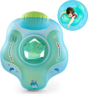 Free Swimming Baby Inflatable Baby Swim Float with Safe Bottom Support and Backrest Design Swimming Pool Accessories-Help Baby Learn to Kick and Swim (Green, M)