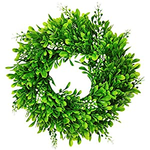 """Silk Flower Arrangements 12"""" Artificial Green Leaves Wreath Round Boxwood Wreath,Greenery Hanging Leaves Wreath for Window Front Door Festival Celebration Party Decor Home Décor"""